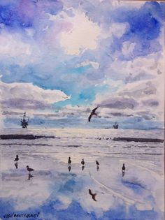 """Winter On The Beach Watercolor Original Painting S  12"""" x 9""""  NOT A PRINT  