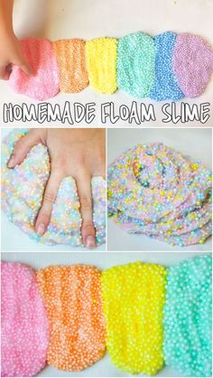 KIds love this homemade floam slime! So mess-free, colorful, and fun! #slimerecipes #slime #funforkids #homemaderecipes #playrecipes #recipesforplay #craftymorning