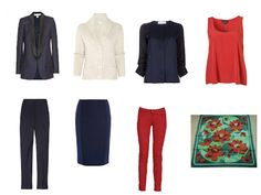 wardrobe of navy & rust based on an Hermes scarf