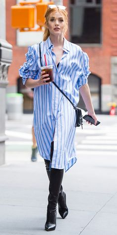 Katherine McNamara made the case for sky high leather boots in the summer while out in New York City. The Shadowhunters star kept the look casual with an oversized shirt dress, a leather crossbody, and mirrored sunglasses.