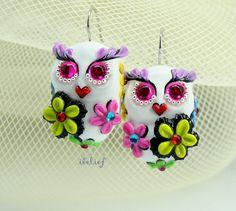 OWL NIGHT of handmade is flower on white owl earrings EW0048 on Etsy, $21.90