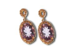 18 KARAT GOLD PINK TOURMALINE EARRINGS WITH PAVЀ FRAME.