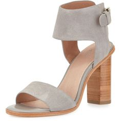 Joie Opal Leather High-Heel City Sandal (456 AUD) ❤ liked on Polyvore featuring shoes, sandals, dove, ankle strap shoes, open toe shoes, leather ankle strap sandals, ankle wrap sandals and leather high heel sandals