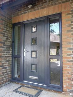 Modern Windows And Front Doors Ideas Grey Upvc Doors, Grey Front Doors, Front Doors With Windows, Grey Windows, Front Door Porch, Porch Doors, House Front Door, Entrance Doors, Bungalow Hallway Ideas
