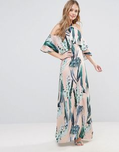 Every Cloud Cactus Print Halterneck Maxi With Ruffle ($128)