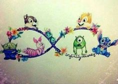 Disney Infinity tattoo. I love this idea. I'd change the characters though. I'd keep Stitch and Scrump, then I would add Olaf, Todd and Copper from Fox and the Hound, Wall-e, Mushu from Mulan, and a young Tarzan in the corner!