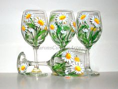 Springtime White Daisies Hand Painted Wine by SharonsCustomArtwork
