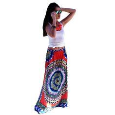 Women Bohemian Strappy High Waist Maxi Long Skirt Retro Wind Big Swing Dress