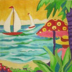 Bright Tropical Island Living Needlepoint
