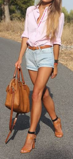 Curating Fashion & Style: Summer outfit | Pink shirt, daisy dukes, brown belt, strapped heels, handbag, accessories.