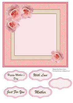 Beautiful Petal Insert on Craftsuprint designed by Sharon Vieira - .This insert is approx 7x7 in. It comes with 5 sentiment labels reading : Happy Mother's day, With Love, Mother , Just For You and one blank for the sentiment of your choice. - Now available for download!