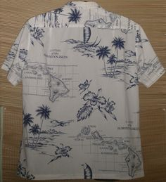 Islands of Hawaii map [mens Aloha shirt]