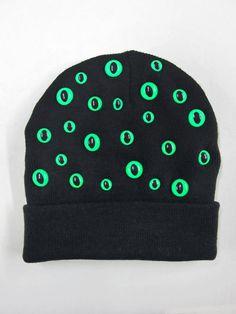 Black and Neon Green Kitty Eye Beanie by PrettySnake on Etsy
