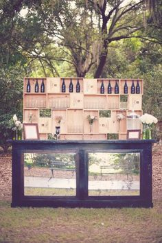 rustic outdoor wine bar for a wedding