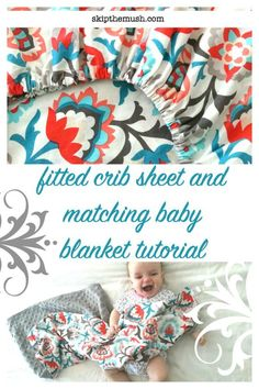 Fitted Crib Sheet Tutorial with My Favorite Video - - Shortly after I taught myself to sew and a couple of months after Little K was born I wanted to make things for her. Jersey headbands, baby leggings and then I saw a video on how to make crib sheet…. Baby Blanket Tutorial, Easy Baby Blanket, Diy Baby Girl Blankets, How To Sew Baby Blanket, Crib Blanket, Quilt Baby, Baby Leggings, Baby Sewing Projects, Sewing For Kids