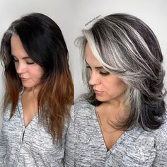 silver hair highlights going gray ; Long Gray Hair, Silver Grey Hair, Silver Hair Colors, Silver Color, Silver Blonde, Grey Hair With Black, Dye Hair Gray, Gray Hair Women, Silver Hair Styles
