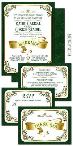 The Legend of Zelda Wedding Invitation Set. Kvitart.etsy.com #zelda #legendofzelda #wedding #weddinginvitation #marriage #legend #thankyoucards #rsvpcards #rsvp #reception #zeldagame #game #zeldathemed