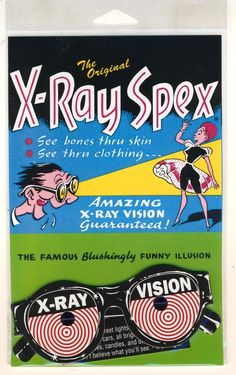 Original X-Ray Specs Spex XRay Glasses New in Package Classic Comic Book Novelty!  Peek-a-boo.
