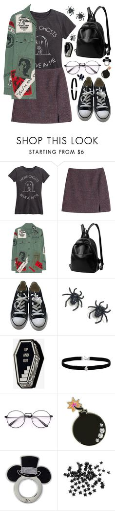 """i hope ghosts believe in me"" by megan-vanwinkle ❤ liked on Polyvore featuring Carven, MadeWorn, Converse, Tarina Tarantino, Amanda Rose Collection, Skinnydip, INC International Concepts, jacket, polyvoreeditorial and polyvorecontest"