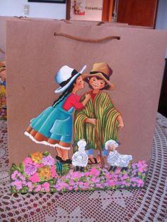 bolsas ecologicas , motivos peruanos  papel  ecologico,acrilicos pintado  a mano