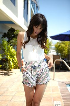 Here's our short story: soft and sweet is IN! Tribal print shorts | Charlotte Russe