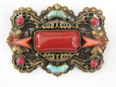 Czech Art Deco Brooch Pin Neiger Numbered, Barbara Jones Collection