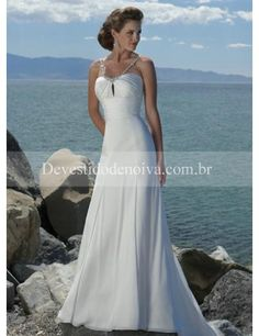 Barato Sasa Alças Finas Vestidos de Noiva