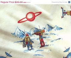 SALE TODAY 1960s Fabric Kids Juvenile Novelty by FabricTreasures4U, $31.50