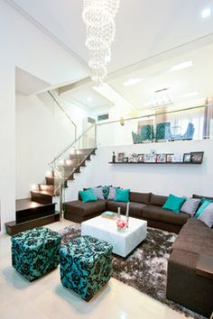 Brown And Teal Living Room Design Ideas, Pictures, Remodel and Decor