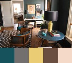 Teal, Brown, and gray color palette