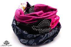 Rundschal Schal pink schwarz dunkelblau von #Lieblingsmanufaktur