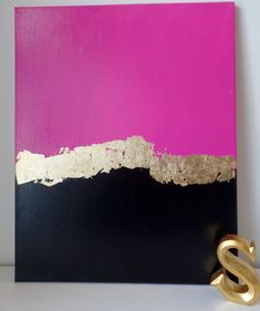 Kate Spade Inspired Acrylic Painting Canvas Pink Gold Leaf