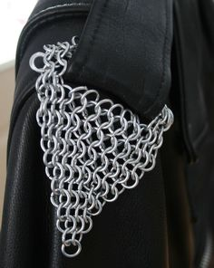 Chainmail Maille Epaulets for Biker Jacket Shoulder Strap Handcrafted Galvanized Steel Rings Set of 2 by JulieKindtStudio, $35.00 USD