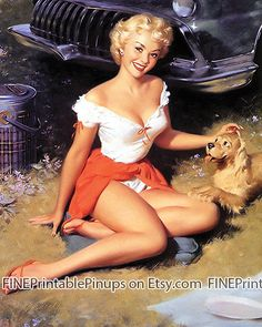 pinup pin up vintage classic old retro illustration drawing painting poster girl woman beautiful pretty sexy picnic summer blonde tan dog car sports basket panties red skirt puppy grill bumper  vargas elvgren art artist hair dress 50s 40s 30s 20s 60s 70s 1920 1930 1940 1950 1960 1970 300dpi printable quality public domain creative commons free
