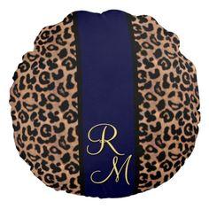 Leopard Pattern Custom Monogrammed Blue Striped Round Pillow