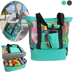 6e86c33e0c87 Umm... what?! BEST BEACH BAG EVER! Mesh tote to keep the sand out ...