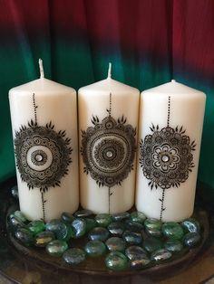 Set de vela Mandala henna 3 por TSMehndi en Etsy