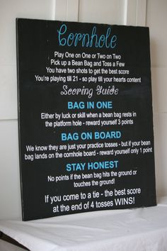 Cornhole Game Rules Custom Wood Sign by ExpressiveInvites on Etsy Create own chalkboard? Lawn Games, Backyard Games, Outdoor Games, Outdoor Fun, Cornhole Tournament, Outside Games, Bags Game, Diy Games, Party Games