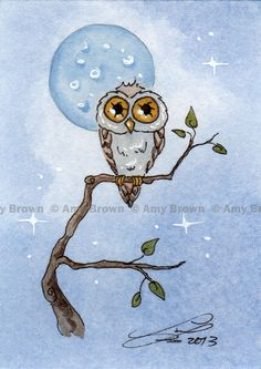 ORIGINAL Owl ACEO PAINTING by Amy Brown by AmyBrownArt on Etsy, $20.00
