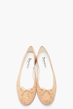 Repetto Tan Cork Cendrillon Ballerina Flats for women | SSENSE