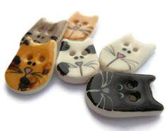 6 Botones de gato de cerámica hecha a mano, Calico, Tabby naranja, gris atigrado, parche, negro y blanco Cat, novedad, animales botones infantiles