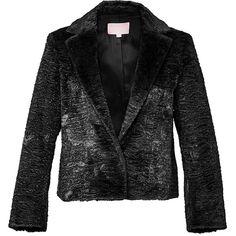 Giamba Black Fur Embossed Jacket (£515) ❤ liked on Polyvore featuring outerwear, jackets, giamba, fur jacket, retro jackets, black fur jacket and cropped fur jacket