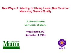 New Ways of Listening to Library Users: New Tools for Measuring Service Quality A. Parasuraman University of Miami Washington, DC November 4, 2005.
