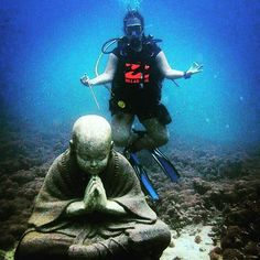 Our beautiful underwater buddha repost @travellingamanda #giliair #giliislands #lombok #bali #lombokisland #thebalibible #thegiliguide #gotogili #newbali #dive #diving #instadive #scubadiving #divemaster #idc #padi #sea #sealovers #explore #underwater #gopro #indonesia #holidays #fundive #instagood
