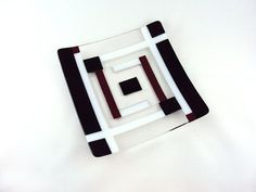 Square Black White Red and Clear Glass Plate