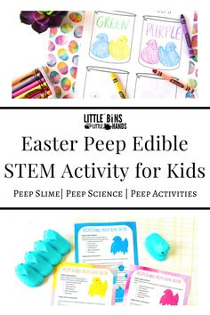 Easter Peep Edible STEM Activities for Kids are the best Easter themed learning activities for kids! Children will love to learn about science with these fun marshmallow bunnies. In this edible STEM for kids you can expect Peep Slime, Peep Science, Peep 5 Senses, and so much more. Engage and enhance your science learning with Easter Peep Edible STEM Activities for Kids. Great for home, distance, and classroom learning! Steam Activities, Science Activities For Kids, Kindergarten Science, Easter Activities, Holiday Activities, Easy Science Experiments, Stem Science, Stem Projects, Science Projects