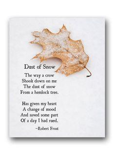 Robert Frost Poetry Art Print Dust of Snow Winter Poem | Etsy