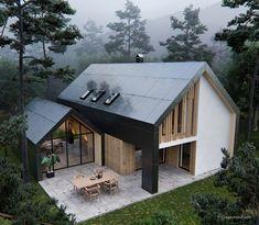 Pavilion House Full CGI on Behance Pavillon Future House, Nachhaltiges Design, Loft Design, Design Ideas, Design Firms, Design Exterior, Big Houses, House Goals, House Architecture