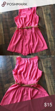 Forever 21 Romper Pink sheer romper with belt. Zipper back. Only worn a few times Forever 21 Dresses