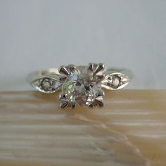 Diamond Engagement Ring. Old European Cut Diamond.  Three Stone Ring in White Gold. Addy on Etsy.. £1,495.00, via Etsy.